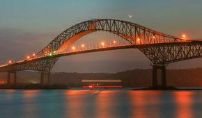 Beautiful bridge connected South and North Americas (Puente de las Americas Panama)